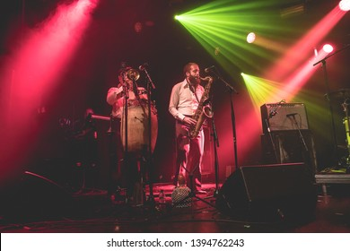 Amsterdam, The Netherland - 15 November 2018: concert of French-Togolese band Vaudou Game at Paradiso Noord Tolhuistuin in Amsterdam
