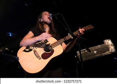 Amsterdam, The Netherland - 30 October 2018: concert of Swiss singer Sphie Hunger at Paradiso Noord Tolhuistuin in Amsterdam