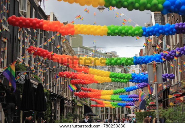 """""""Amsterdam/ The Netherland - August 5th 2016: Full of colorful decoration in Amsterdam's Pride 2016"""""""