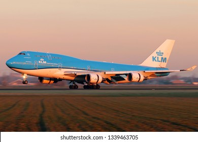 AMSTERDAM, NETHERLAND - FEBRUARY 24, 2019 - KLM Royal Dutch Airlines Boeing 747 landing in Amsterdam Schiphol Airport