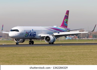AMSTERDAM, NETHERLAND - FEBRUARY 25, 2019 - Arkia Airbus 321 NEO landing in Amsterdam Schiphol Airport