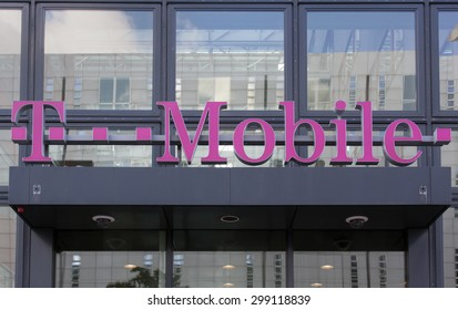 Amsterdam, Netherland - July 23, 2015: Facade of a T-mobile store in Amsterdam