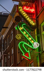 Amsterdam, Netherland - July 7, 2018: One of many famous Amsterdam coffeshops, where cannabis (marijuana) is sold for private use