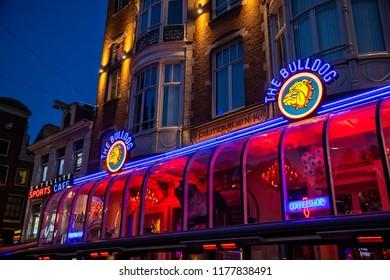 Amsterdam, Netherland - July 7, 2018: The famous coffeshop Bulldog in Amsterdam city, Netherlands