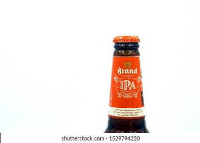 Amsterdam, the Netherland - October 13, 2019: Bottleneck of a Brand IPA beer bottle.
