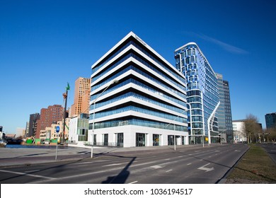 Amsterdam,  Netherlands 02 25 2018 : complex of amsterdam zuidas development office buildings and houses