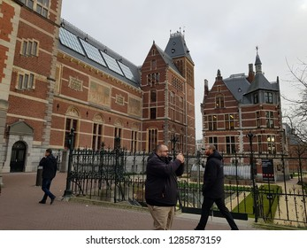 AMSTERDAM, NETHERLANDS - 02 January 2019 The view of Rijksmuseum Amsterdam museum area and other details around