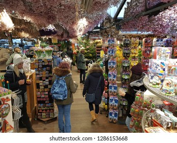 AMSTERDAM, NETHERLANDS - 02 January 2019 View of the Bloemenmarkt. It is the world's only floating flower and Bulbs market