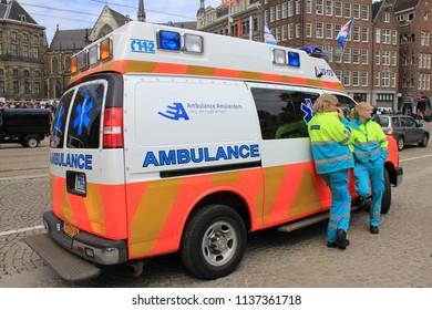 Amsterdam, Amsterdam, Netherlands; 04-29-2013 : EMS ambulance on a street in Amsterdam.