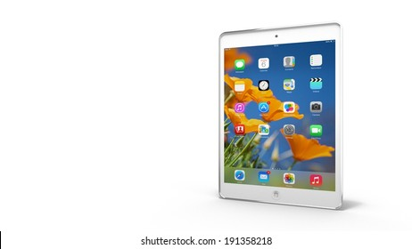 AMSTERDAM, THE NETHERLANDS - 05 MAY 2014 - White Apple iPad Mini tablet.
