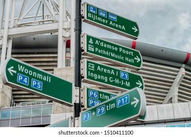 Amsterdam, Netherlands, 09/13/2019, Arena Park, ArenA Boulevard. Road, street signs, Johan Cruijff ArenA