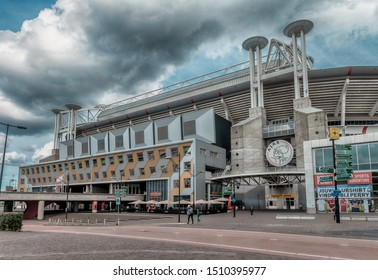 Amsterdam, The Netherlands, 09/13/2019 Johan Cruijff ArenA. Formerly known as the Amsterdam ArenA. Arena park, AJAX Football stadium, cloudy sky
