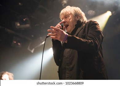 Amsterdam, The Netherlands - 10 february, 2018: concert of Belgian rock band Tjens Matic with singer Arno at venue Melkweg