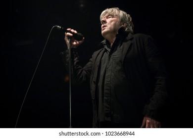 Amsterdam, The Netherlands - 10 february, 2018: concert of Belgian rock band Tjens Matic with singer Arno at venue Melkweg