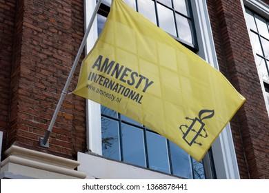 Amsterdam, Netherlands 12 april 2019; Flag of Amnesty International in Amsterdam in the Netherlands