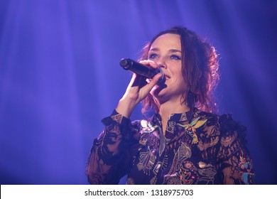 Amsterdam, The Netherlands - 12 February 2019:  Concert of French songwriter and singer Zaz at venue AFAS live in Amsterdam