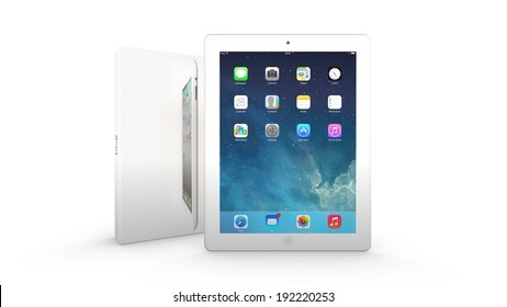 AMSTERDAM, THE NETHERLANDS, 12 MAY 2014 - Apple iPad with package box.