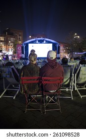 Amsterdam, The Netherlands, 12 September 2014, at West'ival, a free open air Cinema and culture festival on Mercatorplein. spectator during the screening