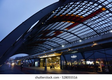AMSTERDAM, NETHERLANDS -13 NOV 2016- Amsterdam Centraal, a national heritage site of the Netherlands, is the largest train station in Amsterdam.