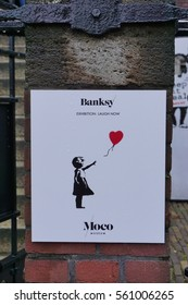 AMSTERDAM, NETHERLANDS -13 NOV 2016- The Moco modern art museum in Amsterdam holds an exhibit of famous contemporary street artist Banksy and Andy Warhol in 2016 and 2017.