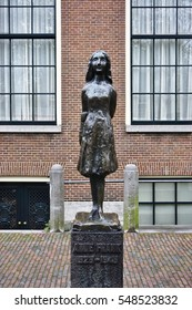 AMSTERDAM, NETHERLANDS -14 DEC 2016- The landmark Anne Frank statue located on Westerkerk Plaza near the Anne Frank House. Anne Frank is famous for her wartime diary.