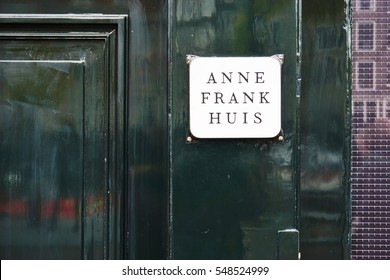 AMSTERDAM, NETHERLANDS -14 DEC 2016- The Anne Frank house located on Prinsengracht in Amsterdam. Anne Frank is famous for her wartime diary of a young girl.