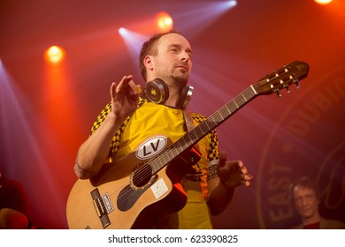 Amsterdam, The Netherlands  -16 April 2017: concert of Bosnian rock music band Dubioza Kolektiv at venue Melkweg