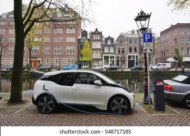 AMSTERDAM, NETHERLANDS -16 NOV 2016- Electric car charging stations in the streets of Amsterdam, which has the second largest fleet of plug-in electric vehicles per capita in the world after Norway.