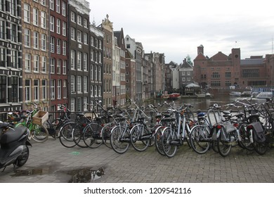 Amsterdam,  Netherlands - 16.09.2018: View on street in the city