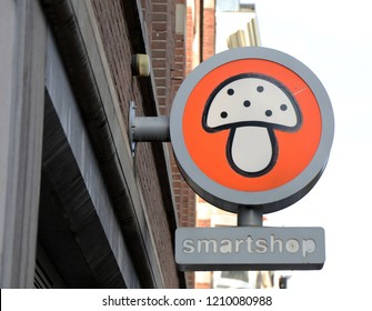 Amsterdam, Netherlands, 19 october 2018: Sign of a smartshop in a street in Amsterdam