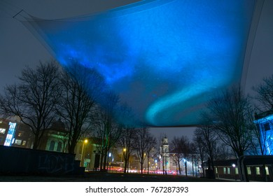 Amsterdam, The Netherlands, 2 December 2017: Light Instalation at Amsterdam Light Festival 2017