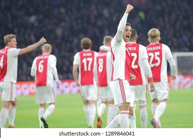 Amsterdam, Netherlands. 20th January 2019. Ajax midfielder Dusan Tadic celebrates the score during the game against Heerenveen for a match in the Dutch first division. Amsterdam, Netherlands, January