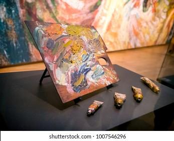 Amsterdam, Netherlands - 21 June 2017: Color palette of the artist Vincent van Gogh
