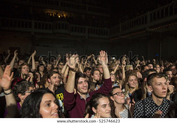 Amsterdam, The Netherlands - 22 November, 2016: audience at concert of French electro swing band Caravan Palace at venue Paradiso