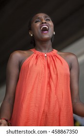 Amsterdam, the Netherlands - 23, 2016: ZO gospel choir performing at the open air theater in Vondelpark for the Gay EuroPride Pink Saturday celebrations