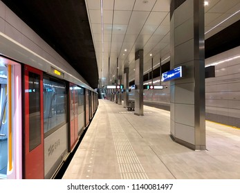Amsterdam, the Netherlands; 23 July 2018; metro station vijzelsgracht in Amsterdam which is part of the new north south line 52 metro system in Amsterdam. View of the station and a metro train