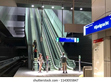 Amsterdam, the Netherlands; 23 July 2018; metro station vijzelsgracht in Amsterdam which is part of the new north south line 52 metro system in Amsterdam. View of the a girl at the station