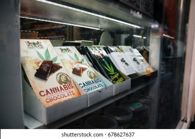 Amsterdam, Netherlands - 25 April, 2017: Chocolate bars with marijuana sell in a Smart Shop in Amsterdam city center.
