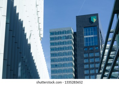 Amsterdam, Netherlands, 25-02-2019: A view at the Abn Amro main building in Amsterdam south with a blue sky as background. Abn Amro is a dutch bank.