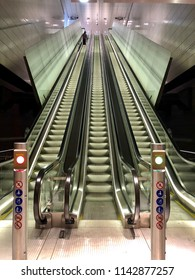 Amsterdam, the Netherlands; 26 July 2018; metro station vijzelsgracht in Amsterdam which is part of the new north south line 52 metro system in Amsterdam. View of the station and escalators