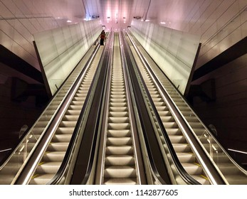 Amsterdam, the Netherlands; 26 July 2018; metro station vijzelsgracht in Amsterdam which is part of the new north south line 52 metro system in Amsterdam. View of the escalators