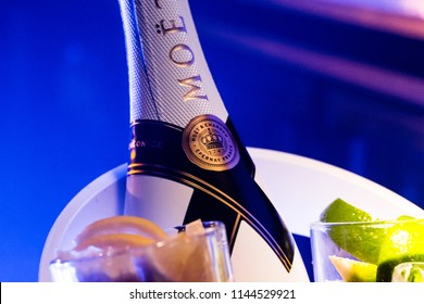 AMSTERDAM, THE NETHERLANDS, 27 JULY 2018 - Moet Imperial Ice Champagne served in a bucket with lime, lemon and mint leaves in the Netherlands
