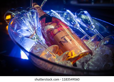 AMSTERDAM, THE NETHERLANDS, 27 JULY 2018 - Moët Imperial Ice Rose Champagne served in a bucket with luxurious champaign glasses in the Netherlands