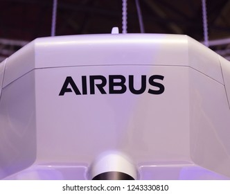Amsterdam, Netherlands 28 november 2018; Airbus letters on a drone in RAI Amsterdam