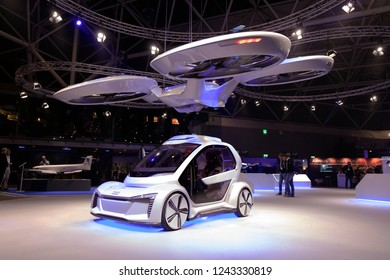 Amsterdam, Netherlands 28 november 2018; Airbus drone and audi car at an exhibition in Amsterdam