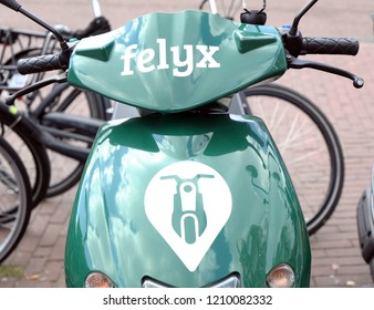 Amsterdam, Netherlands, 30 september 2018: Felux e-scooter in the streets of Amsterdam