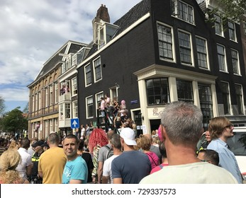 Amsterdam, The Netherlands. 5 August 2017. The annual LGBT Canal Parade takes place during EuroPride 2017 on Prinsengracht in Amsterdam.