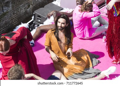 Amsterdam, The Netherlands. 6 August 2016. The annual LGBT Canal Parade takes place during EuroPride 2016 on Prinsengracht in Amsterdam. Conchita Wurst takes part in the Canal Parade.