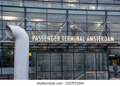 Amsterdam Netherlands -7 December 2018: Entrance to Cruise Passenger Terminal Amsterdam