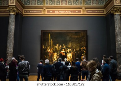 Amsterdam, Netherlands, 9 March-2018: Rembrandt Hall in RIjksmuseum, Amsterdam, Netherlands,